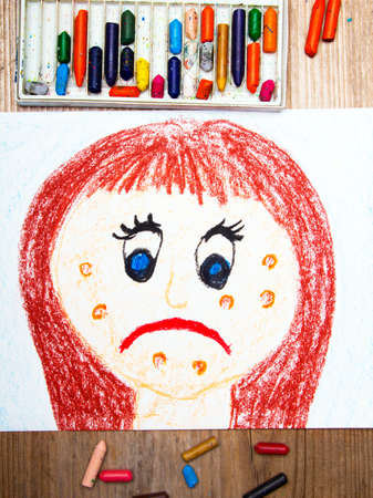 puberty: colorful drawing: sad young woman with acne