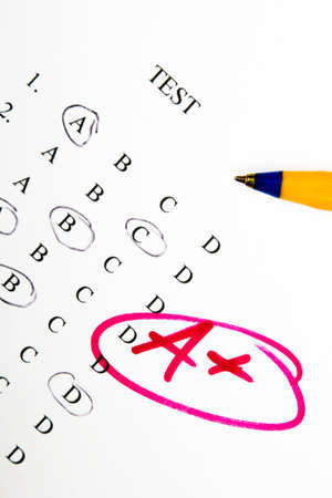 passed test: test results in school, selective focus Stock Photo