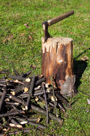 Old ax stuck in a wooden log