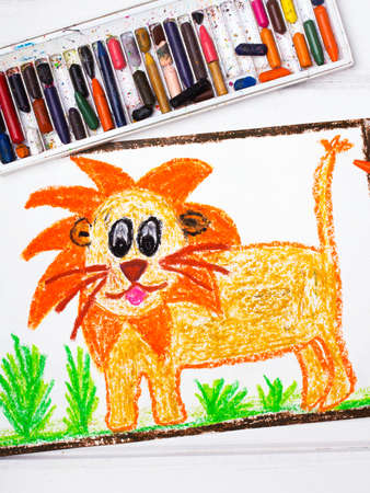 mane: photo of a colorful drawing: lion with a big mane