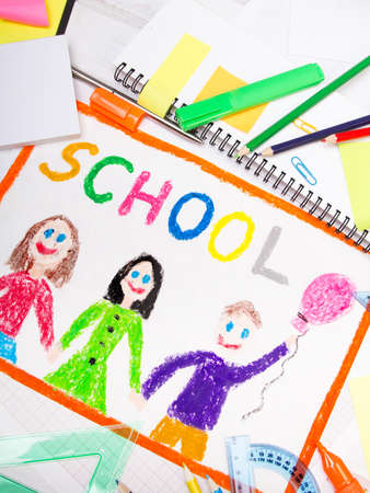 Colorful drawing with word school and school accessories Stock Photo
