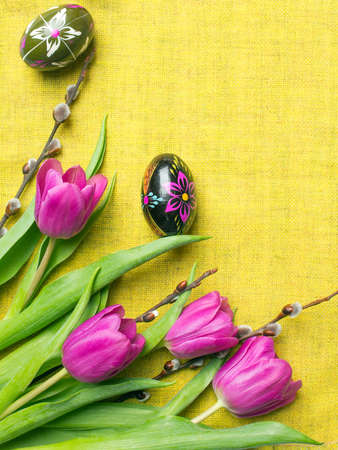 Easter decoration with eggs and tulips