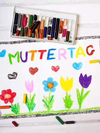 coloured pencils: Colorful drawing - German Mothers Day card with words Mothers day