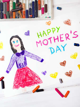 coloured pencils: Colorful drawing - Mothers Day card