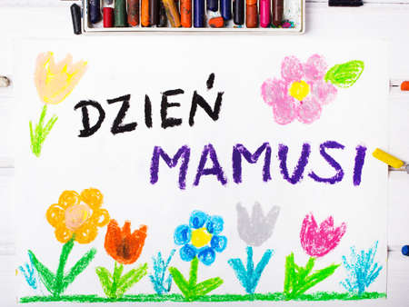 Colorful drawing - Polish Mothers Day card with words Mothers Day Stock Photo