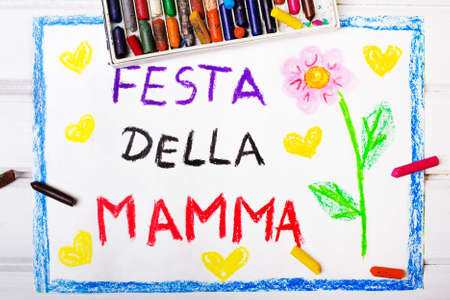 Colorful drawing - Italian Mothers Day card with words Mothers day