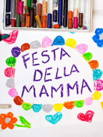 coloured pencils: Colorful drawing - Italian Mothers Day card with words Mothers day