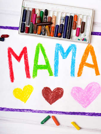 coloured pencils: Colorful drawing - Mothers Day card with word MAMA Stock Photo