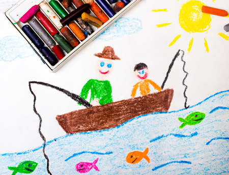 colorful drawing: fishing father and son Stock Photo