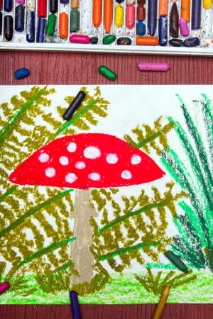 fly agaric: Colorful drawing: Red toadstool in the grass Stock Photo