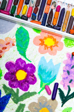 Colorful drawing : beautiful flowers