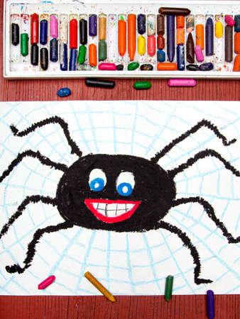 Kleurrijke tekening: Black gelukkige spin en spinnenweb