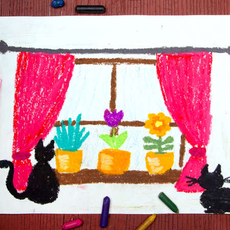 Colorful drawing: Window with window curtains, beautiful flowers and cats. Stock Photo