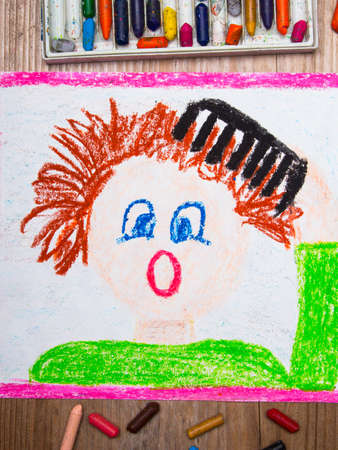colorful drawing: combing hair