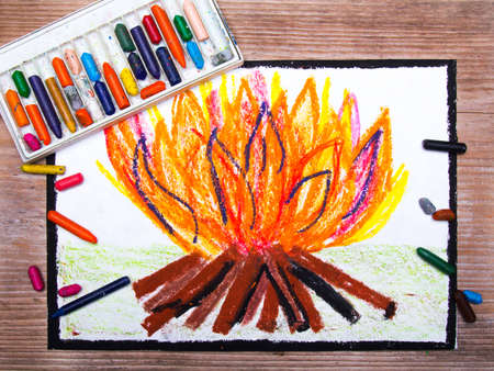 woodpile: colorful drawing: campfire