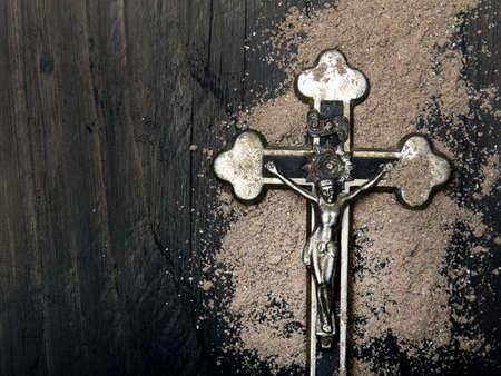 Cross and ash - symbols of Ash Wednesday. Фото со стока