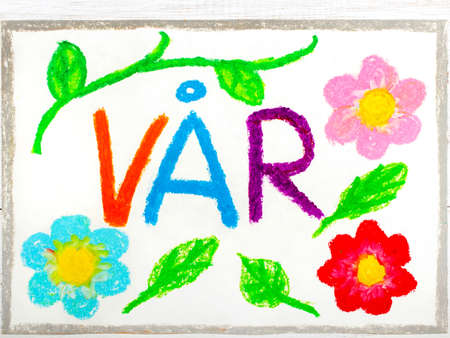 Colorful drawing: Norwegian words V?r (Spring) and beautiful flowers