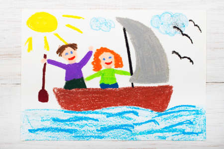 Colorful drawing: happy couple floating on a sailboat