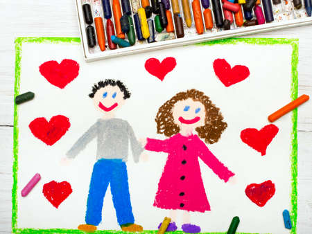 infatuation: Colorful drawing: couple in love