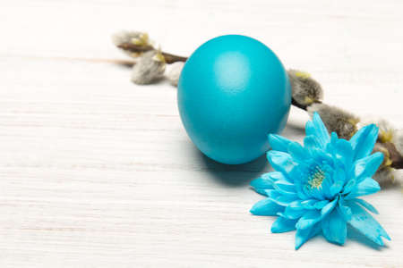 Easter background with eggs, flower and catkins, copy space