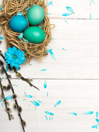 Easter background with eggs, nest and catkinson white wooden background, copy space