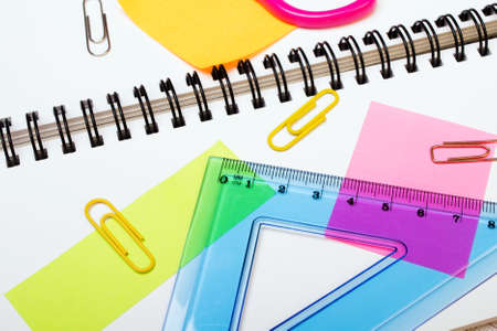 School background with colorful accessories Stock Photo