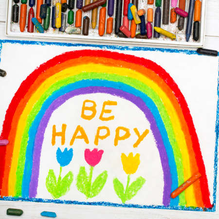 clouds: colorful drawing: beautiful rainbow and words BE HAPPY