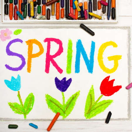 Colorful drawing: word SPRING and flowers