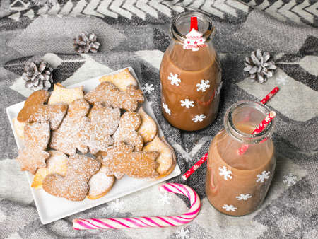 Christmas hot chocolate, sweet cookies  and colorful decorations