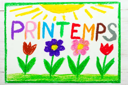 Colorful drawing: French words Printemps (Spring) and beautiful flowes