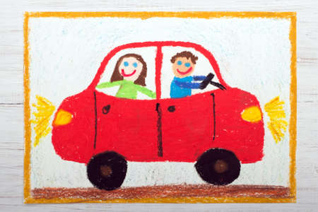 colorful drawing: happy couple in the red car Standard-Bild