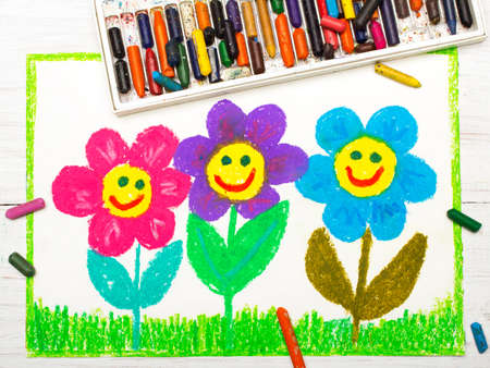 Colorful drawing: beautiful smiling flowers
