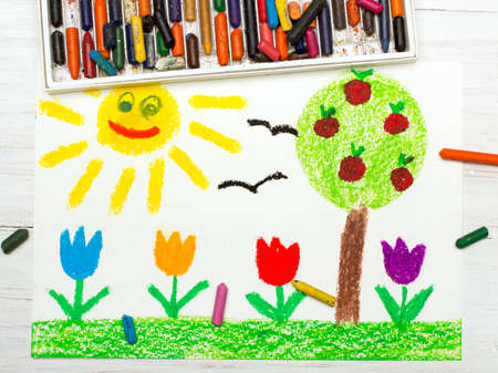 Colorful drawing: landscape with apple tree, tulip flowers an happy sun. Springtime.