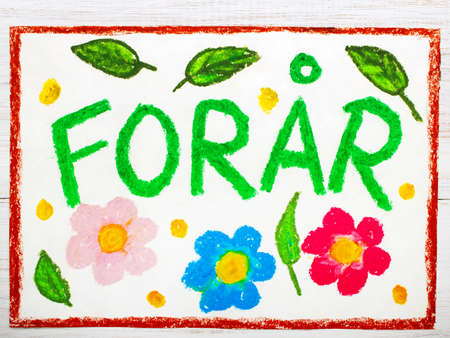 colorful drawing: Danish words Forår (Spring) and beautiful flower