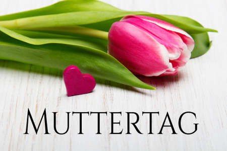 German Mothers day card with word Muttertag (Mothers day) tulip and hearts on white wooden background.