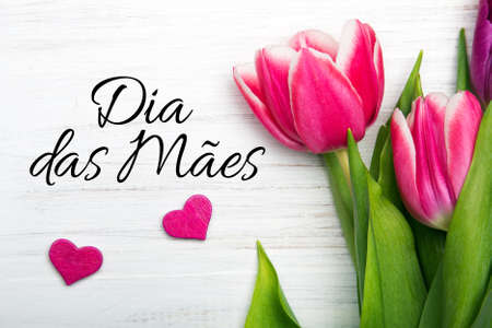 Mothers day card with  Portuguese words: Happy Mothers day, and pink tulip on white wooden background.