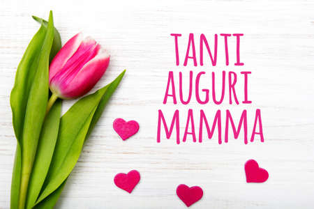 mamma: Mothers day card with Italian words: Happy mothers day. Tulip flower small hearts on white wooden background, copy space