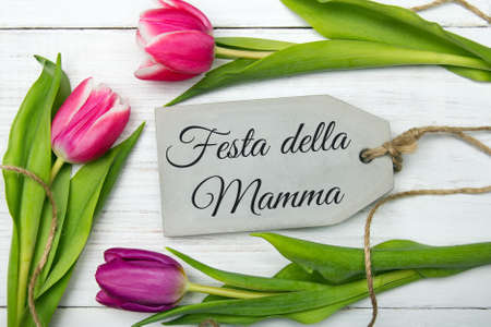 mamma: Mothers day card with Italian words: Happy mothers day. Tulip bouquet on white wooden background, copy space