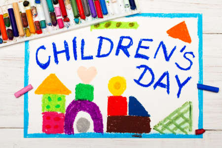 Colorful drawing: Childrens day card.