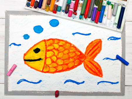 Colorful drawing: Goldfish in wather, smilimg fish Stock Photo
