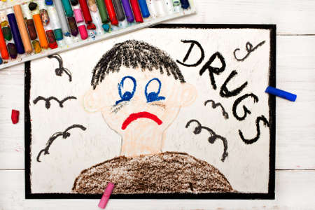 Colorful drawing: Drug addicted person. Sad and depressed man