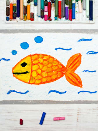 wather: Colorful drawing: Goldfish in wather, smilimg fish Stock Photo