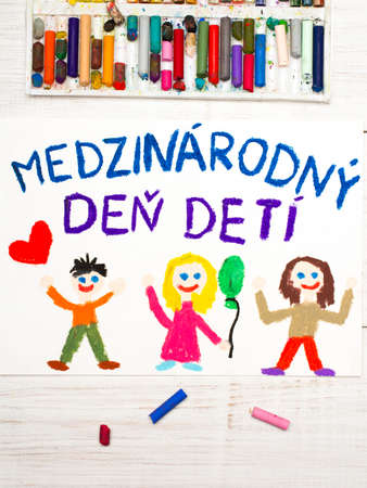 Colorful drawing. Childrens day card with  Slovak words Childrens day. Stok Fotoğraf
