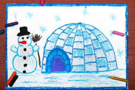 Colorful drawing: Winter landscape, igloo and snowman Stock Photo