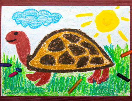 Colorful drawing: happy turtle on the grass