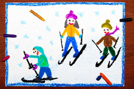 ice: Colorful drawing: Kids learning to ski
