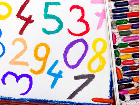 oil pastels drawing: math lesson with colorful numbers