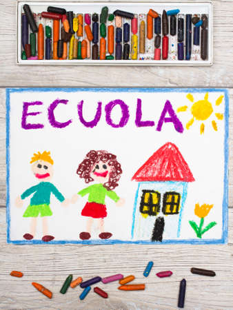 Photo of colorful drawing: Italian school, school building and happy children. First day at school. Stock Photo