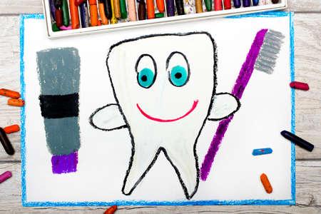 다채로운 드로잉의 사진 : 건강 치아 치약과 칫 솔을 들고 웃 고