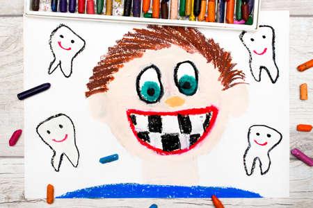 Photo of colorful drawing: Smiling boy without milk teeth.  Losing baby teeth. Zdjęcie Seryjne - 85183261